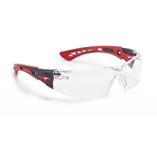 Bolle Rushplus Platinum Safety Glasses Clear/Red Ref BORUSHPPSIPLUS [Pack 10] Up to 3 Day Leadtime