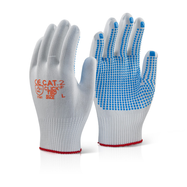 Click2000 Tronix Blue Dot Nylon Knit Glove L Blue Ref TBDL [Pack 100] Up to 3 Day Leadtime