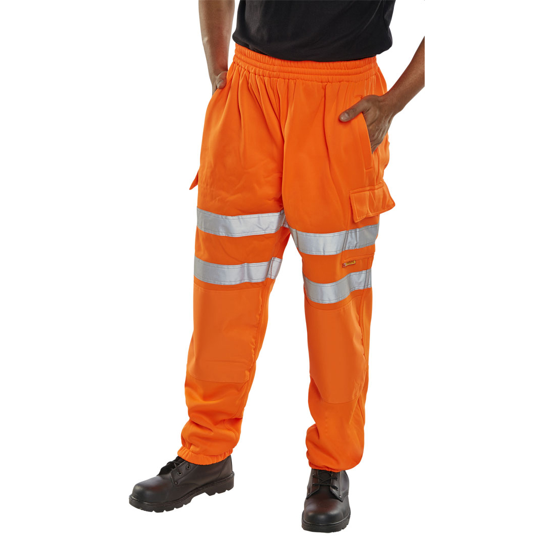 B-Seen Jogging Bottoms Hi-Vis Zip Pockets L Orange Ref BSJBORL *Up to 3 Day Leadtime*