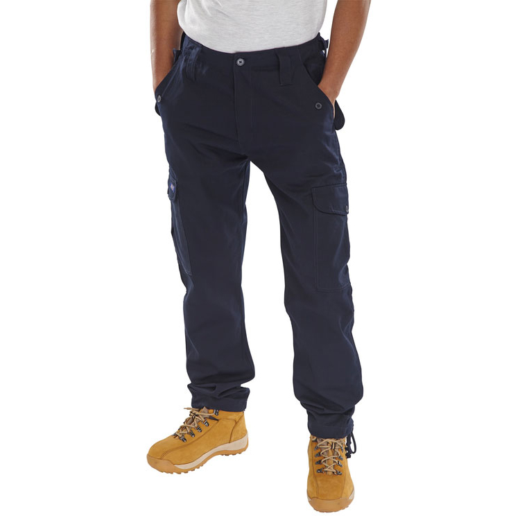 Combat / Cargo Click Workwear Combat Trousers Polycotton Size 50 Navy Blue Ref PCCTN50 *Up to 3 Day Leadtime*