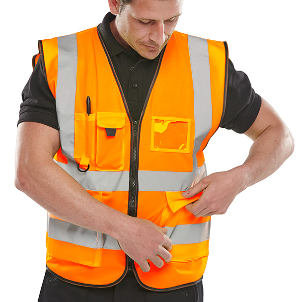 B-Seen Executive High Visibility Waistcoat Medium Orange Ref WCENGEXECORM Up to 3 Day Leadtime