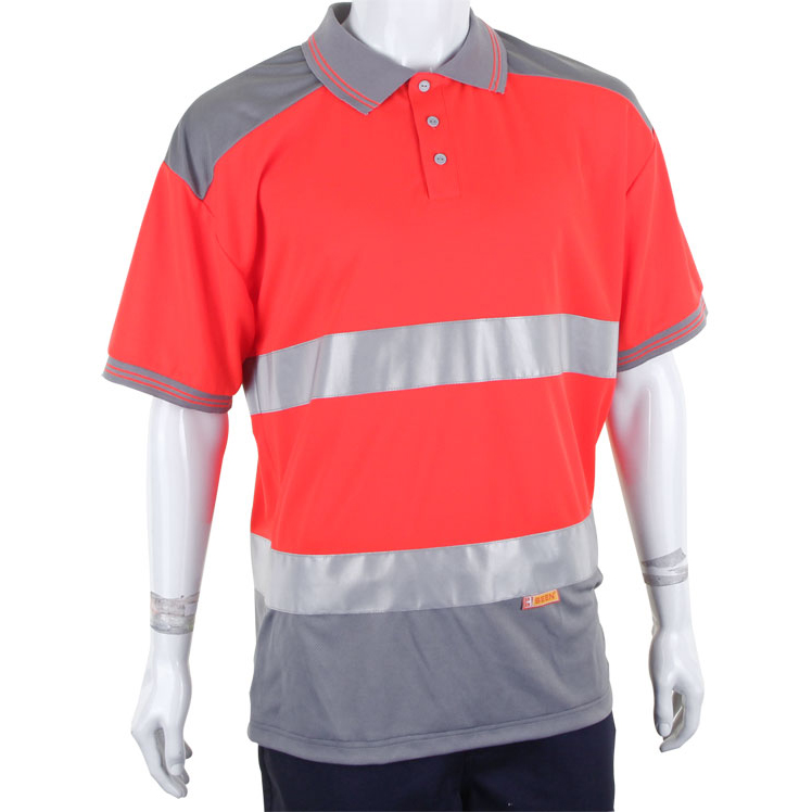 BSeen Polo Shirt Hi-Vis Polyester Two Tone L Red/Grey Ref CPKSTTENREGYL Up to 3 Day Leadtime