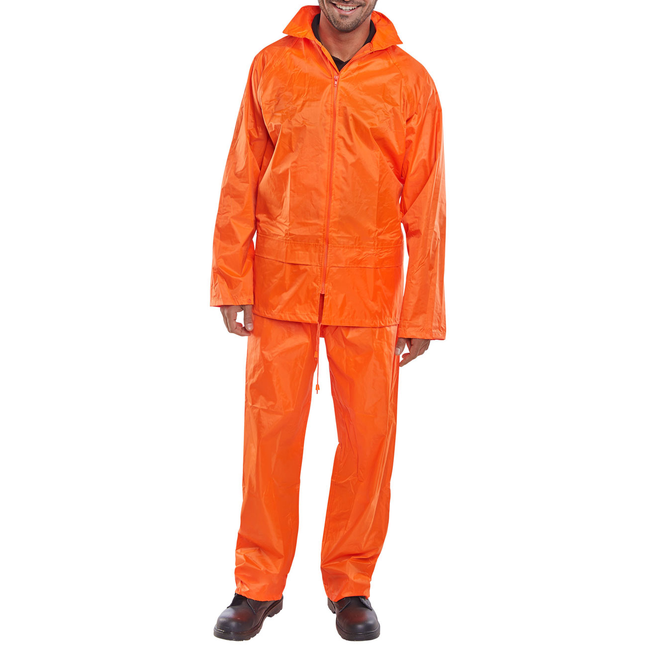 B-Dri Weatherproof Suit Nylon Jacket and Trouser 4XL Orange Ref NBDSOR4XL *Up to 3 Day Leadtime*