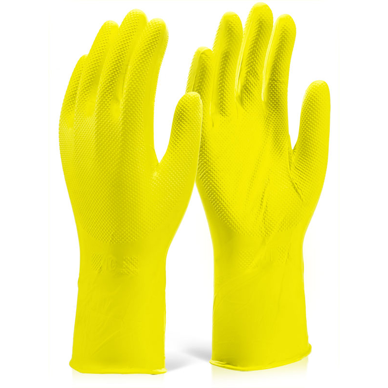 Glovezilla Nitrile Disposable Grip Glove 30cm XL Yellow Ref GZNDG15YXL [Pack 500] Up to 3 Day Leadtime