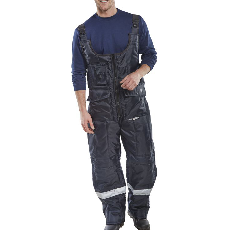 Click Freezerwear Coldstar Freezer Bib Trousers L Navy Blue Ref CCFBTNL Up to 3 Day Leadtime