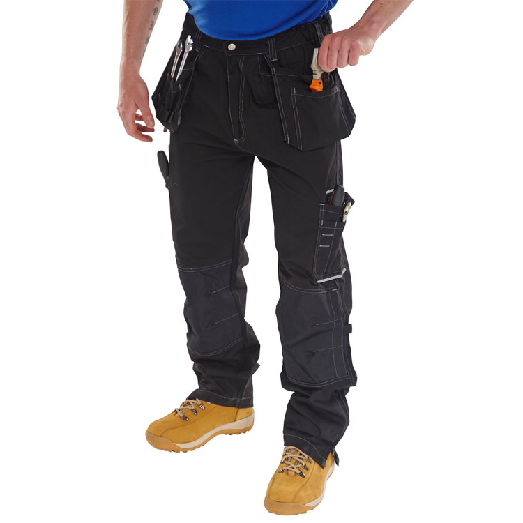 Click Workwear Shawbury Trousers Multi-pocket 42-Tall Black Ref SMPTBL42T *Up to 3 Day Leadtime*
