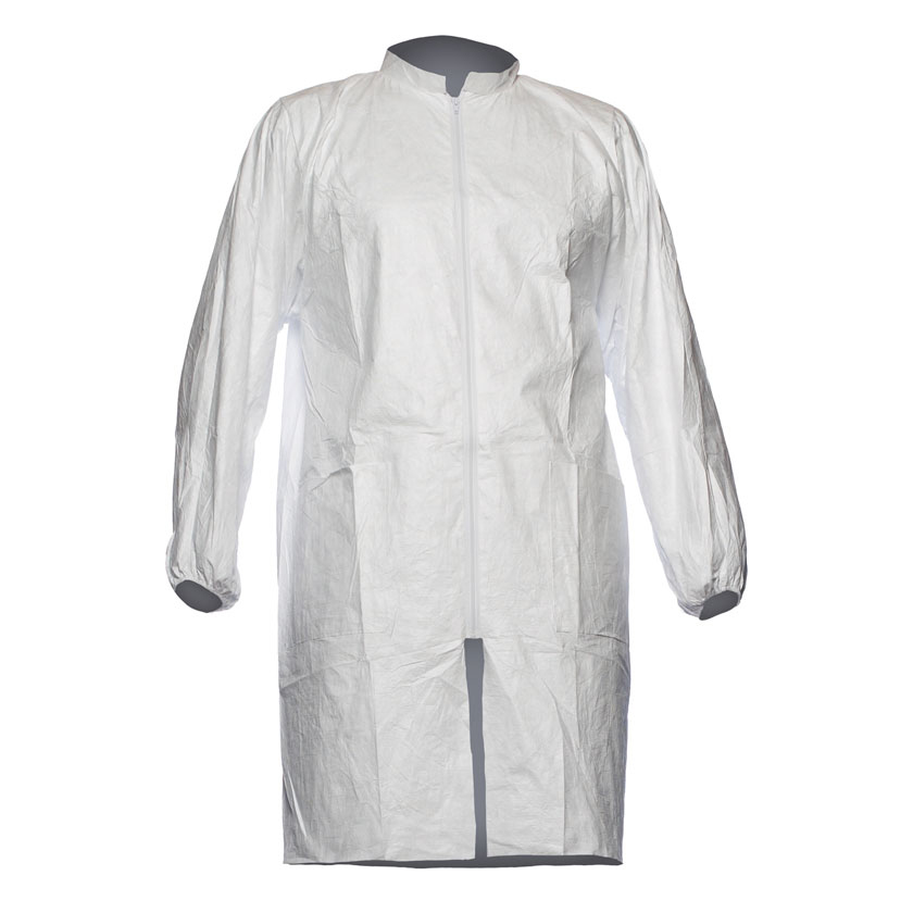 Tyvek 500 Labcoat PL309 Two Pockets PPE Cat 1 Large White Ref TPL309L Pack 10 *Up to 3 Day Leadtime*