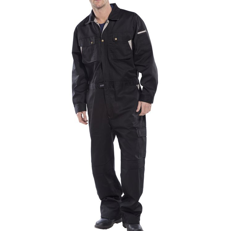 Click Premium Boilersuit 250gsm Polycotton Size 46 Black Ref CPCBL46 *Up to 3 Day Leadtime*