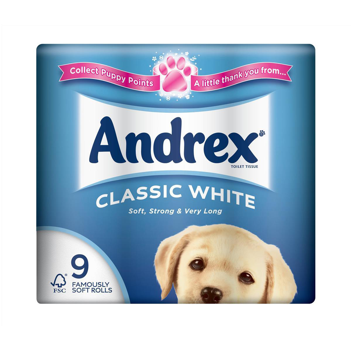 Andrex Toilet Rolls Classic Clean 2-Ply 124x103mm 200 Sheets White Ref 1102055 Pack 9