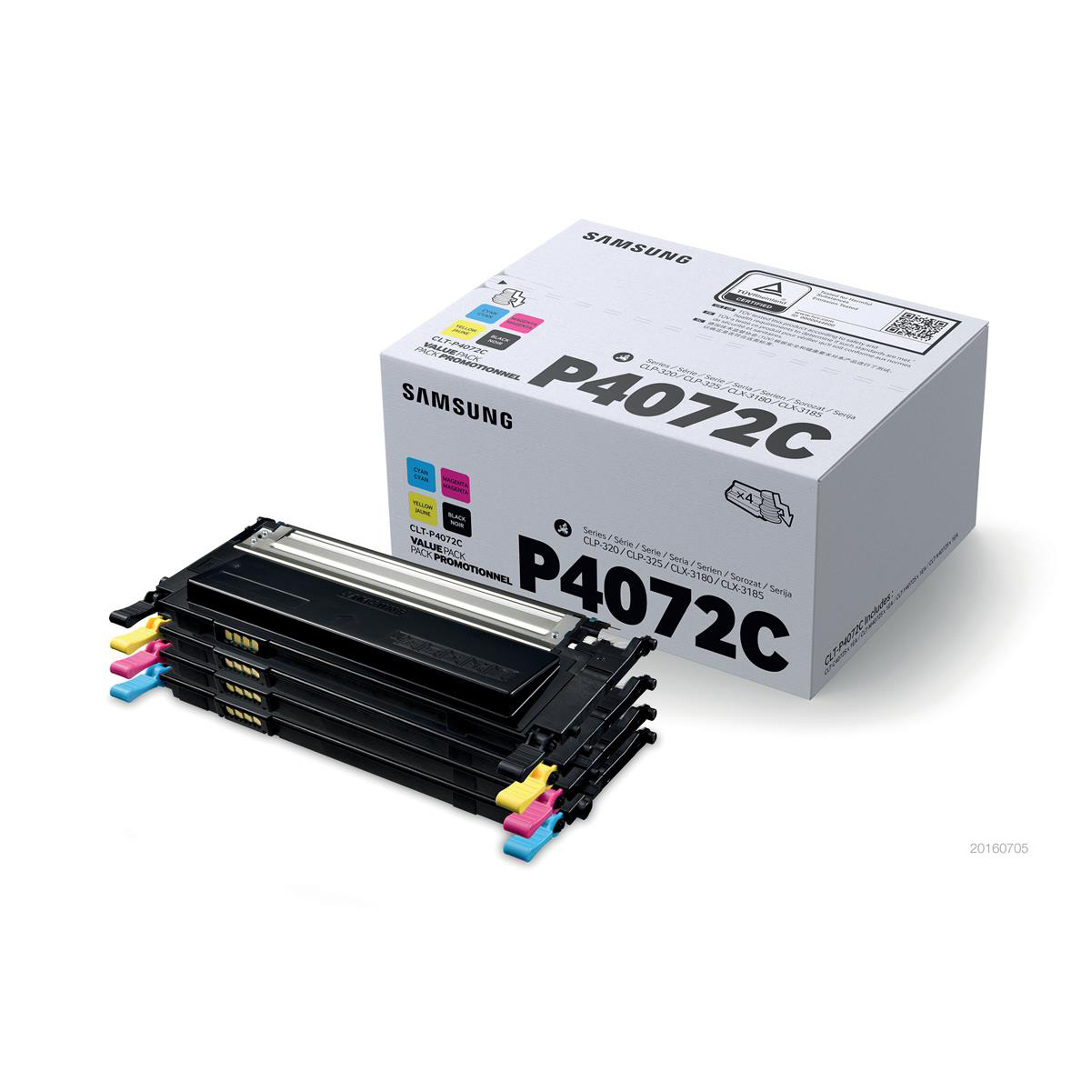 Samsung CLT-P4072C Toner CartPage Life1500ppBlack/Cyan/Magenta/Yell 1000pp Ref CLT-P4072C SU382A[Pack 4]