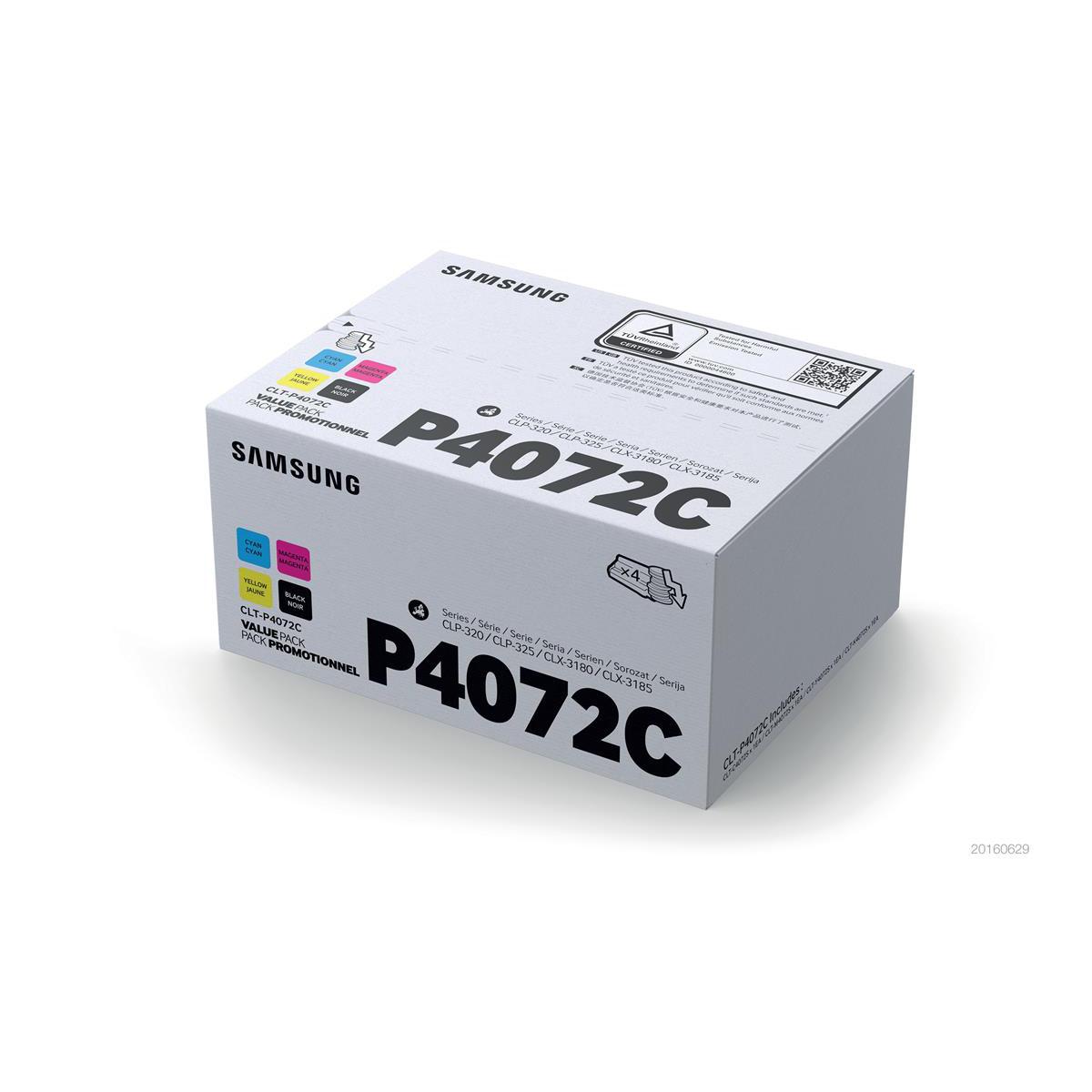 Samsung CLT-P4072C Toner CartPage Life1500ppBlack/Cyan/Magenta/Yell 1000pp Ref CLT-P4072C SU382APack 4