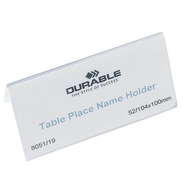 Durable Table Place Name Holder 52x100mm Clear Ref 8051 Pack 25