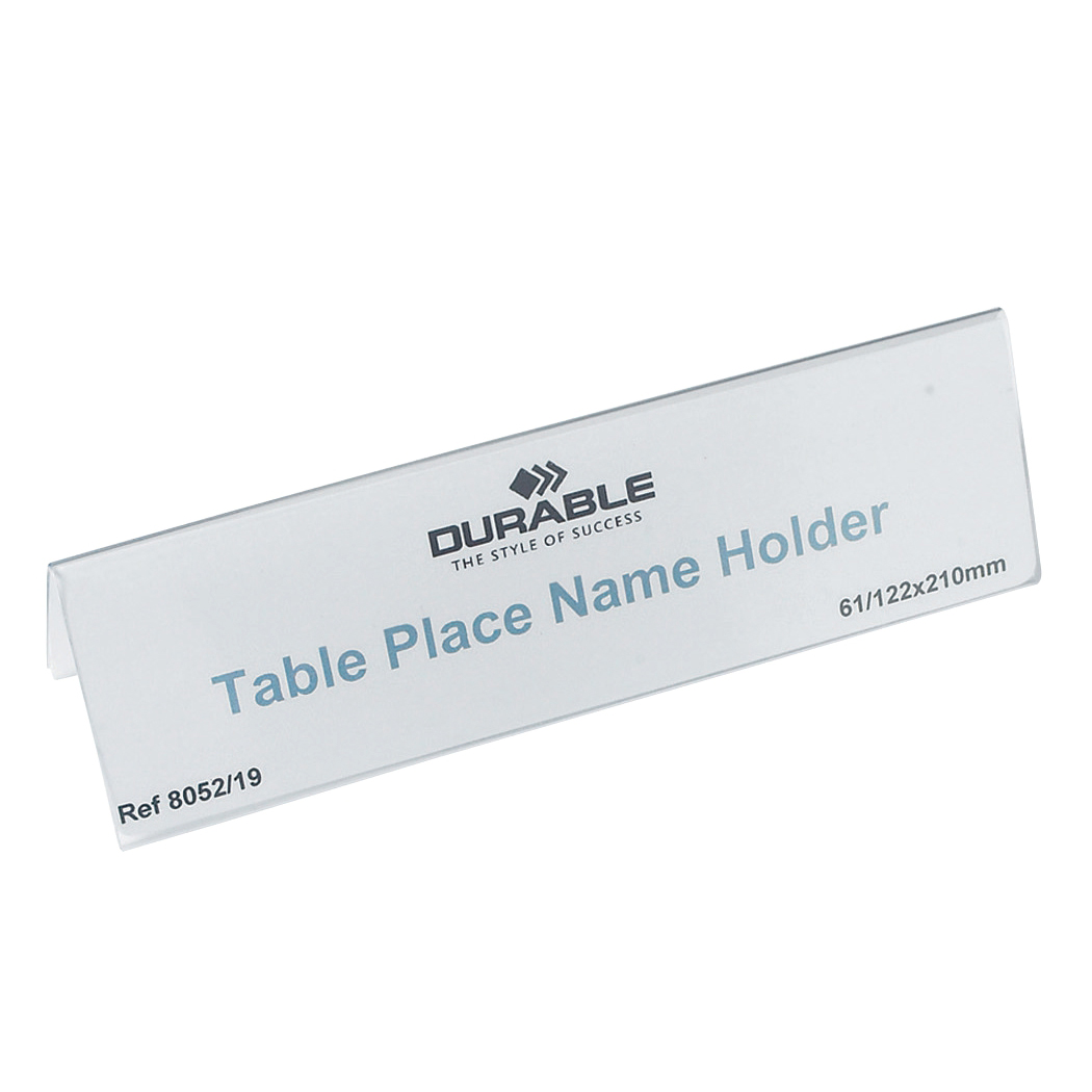 Durable Table Place Name Holder 61/122x210 mm Ref 8052 Pack 25
