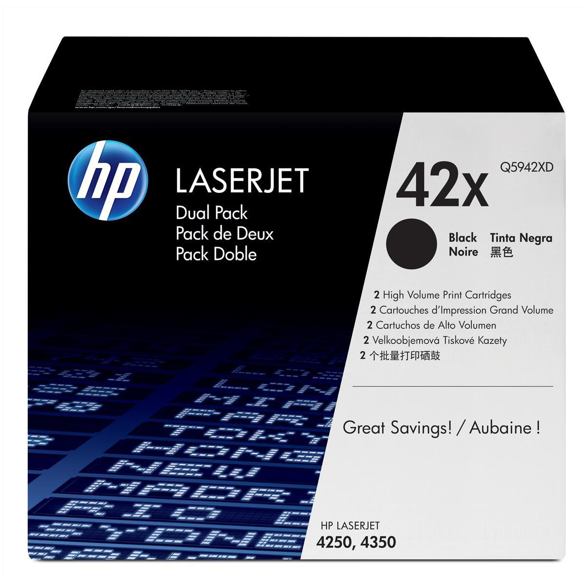 HP 42X Laser Toner Cartridge HY Page Life 20,000pp Black Ref Q5942XD [Pack 2]