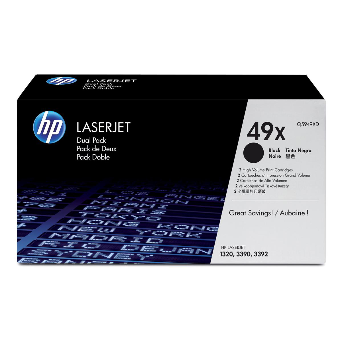 HP 49X Laser Toner Cartridge Page Life 6000pp Black Ref Q5949XD [Pack 2]