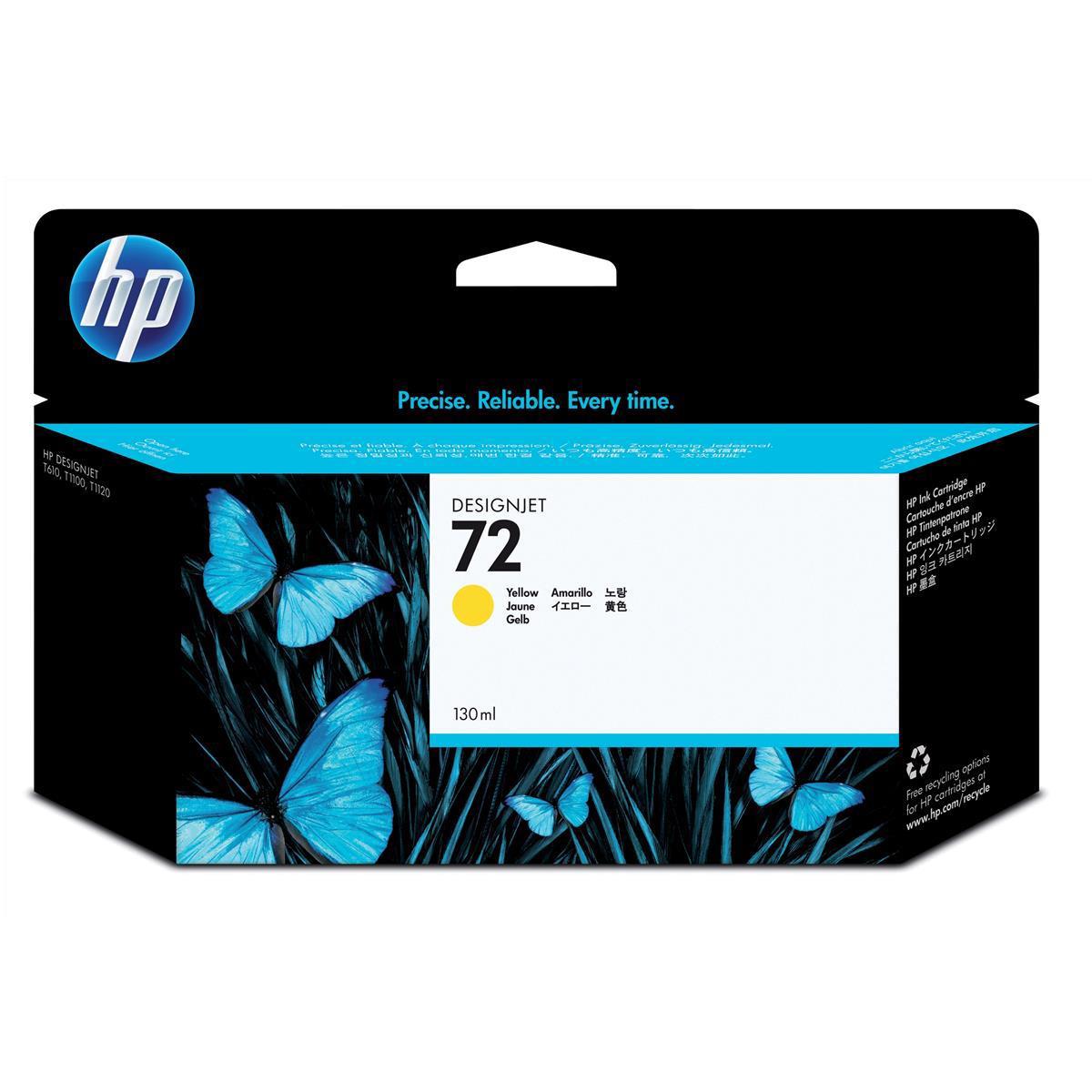 Hewlett Packard [HP] No.72 Inkjet Cartridge High Yield 130ml Yellow Ref C9373A