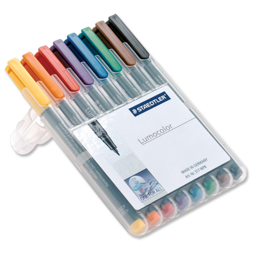 Non-Permanent Markers Staedtler 316 Lumocolor Pen Non-permanent Fine 0.6mm Line Assorted Ref 316WP8 Wallet 8