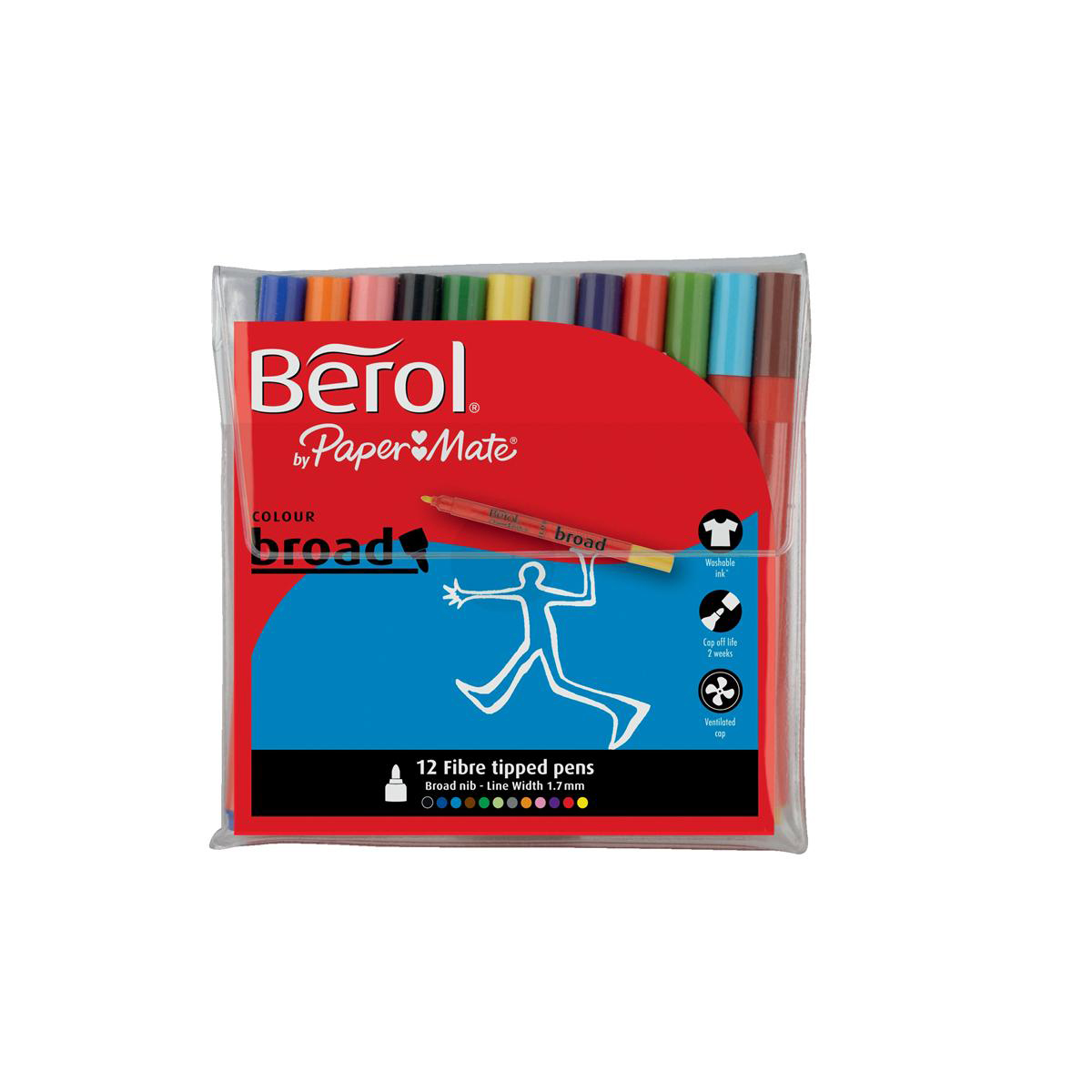 Berol Colour Broad Pens with Washable Ink 1.7mm Line Wallet Assorted Ref 2057596 Pack 12