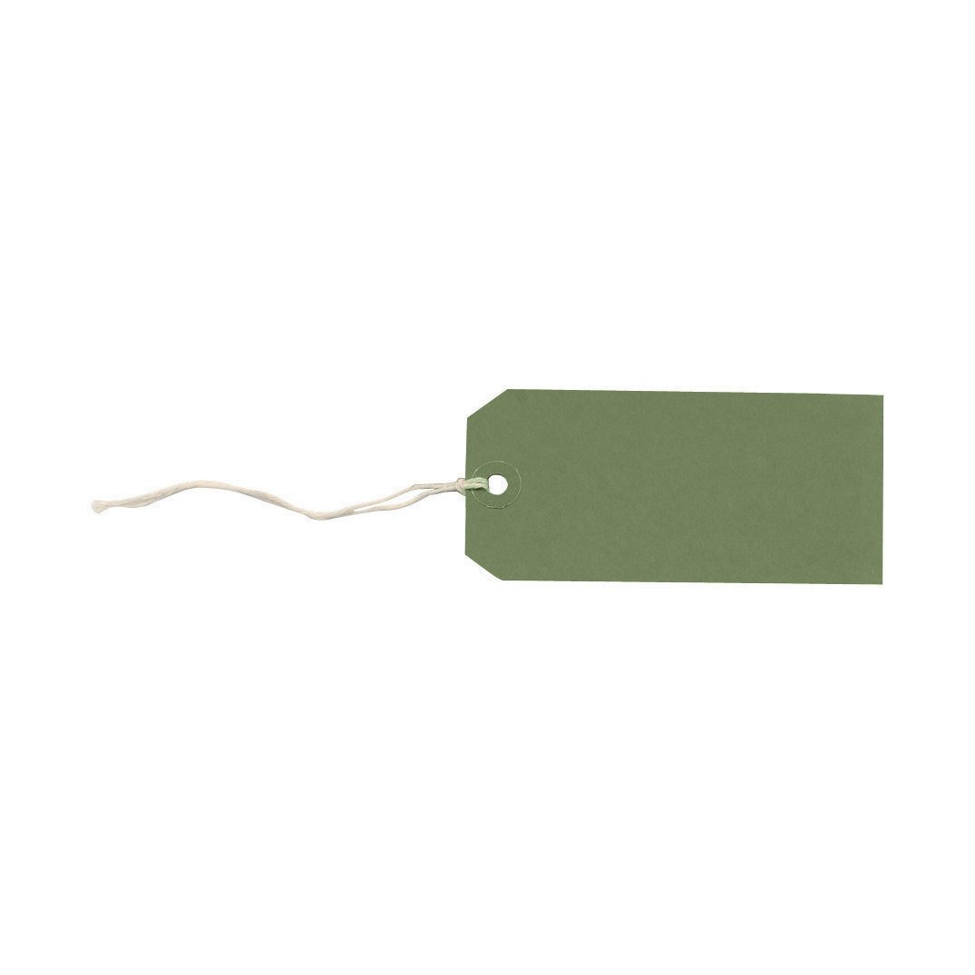 Tag Labels Strung Bulk Boxes Dark Green Pack 1000