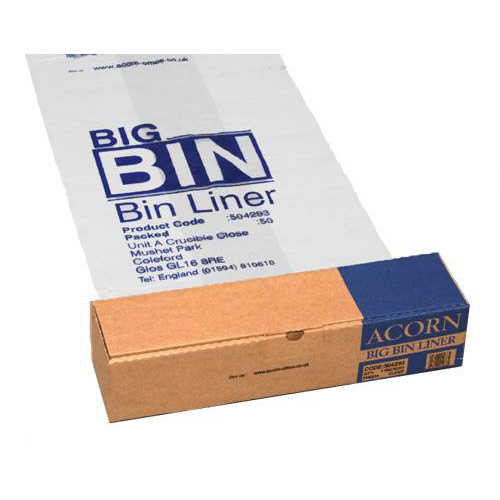 Acorn Bin Liners Reusable Capacity 160 Litres 760x1200mm Clear and Printed Ref 142966 Roll 50