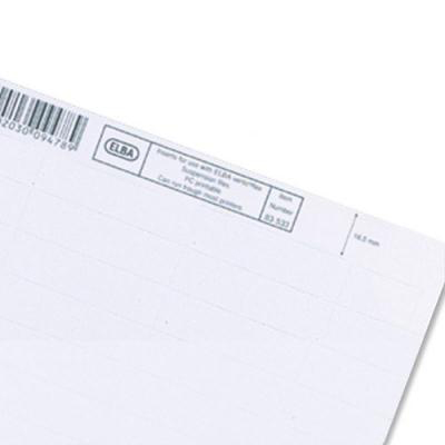 Image for Elba Verticfile Card Inserts for Suspension File Tabs White Ref 100330219 [Labels 50]