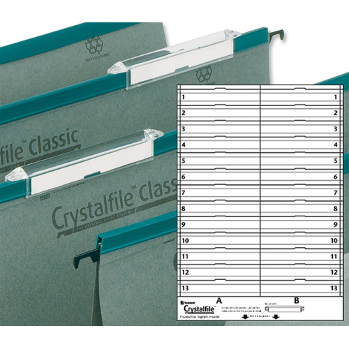 Rexel Crystalfile Classic Linking Suspension File Card Inserts Extra-deep White Ref 78290 Labels 26