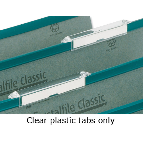 Rexel Crystalfile Classic Tabs Plastic Extra-deep for Suspension File Clear Ref 78289 Pack 50