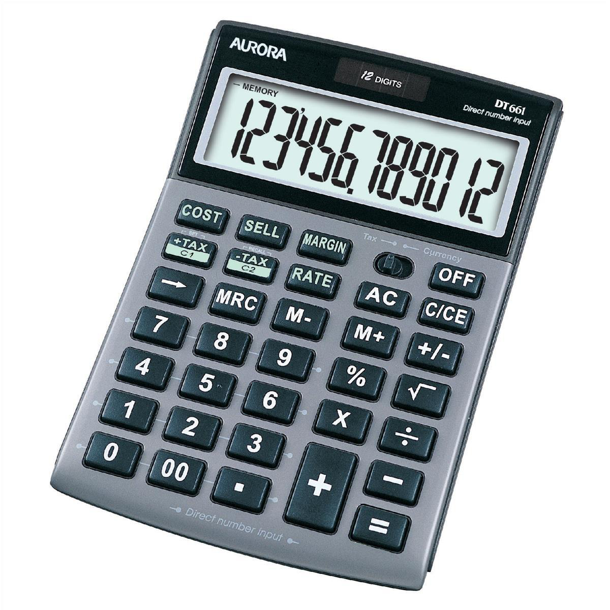 Calculators Aurora Semi-desk Calculator 12 Digit 3 Key Memory Battery/Solar Power 103x23x151mm Silver Ref DT661