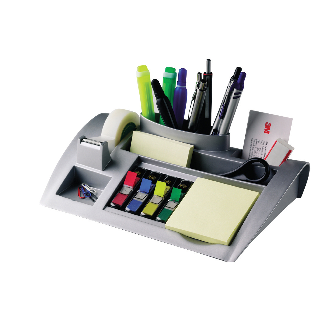 Desktop Organiser Pen Pot Weighted Base Silver