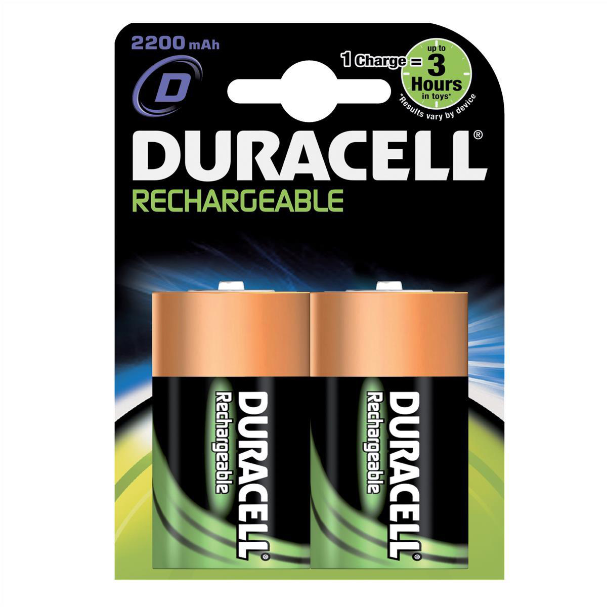 Duracell Battery Rechargeable Accu NiMH Capacity 2200mAh D Ref 81364737 Pack 2