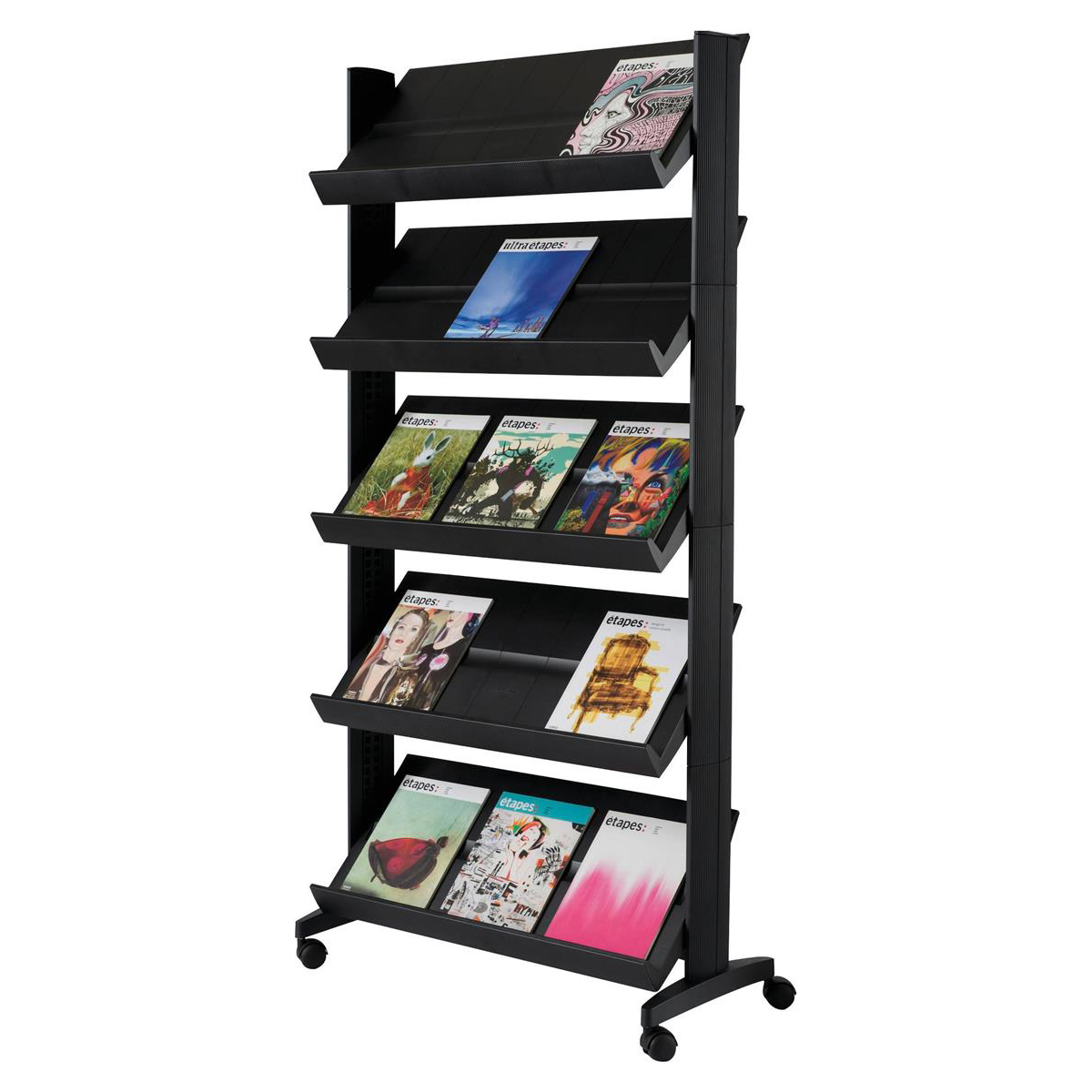 Fast Paper Literature Display Mobile Single Sided 5 Shelves 35mm Lip Black Ref 255N.01