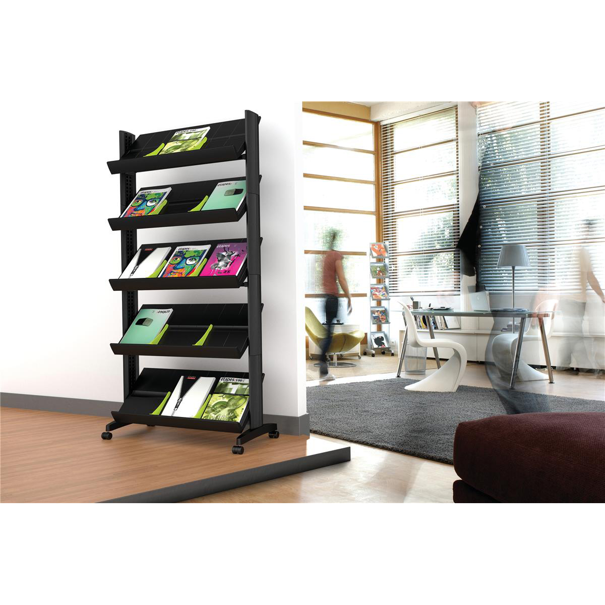 Fast Paper Literature Display Mobile Single Sided 5 Shelves 35mm Lip Black Ref 255N.01