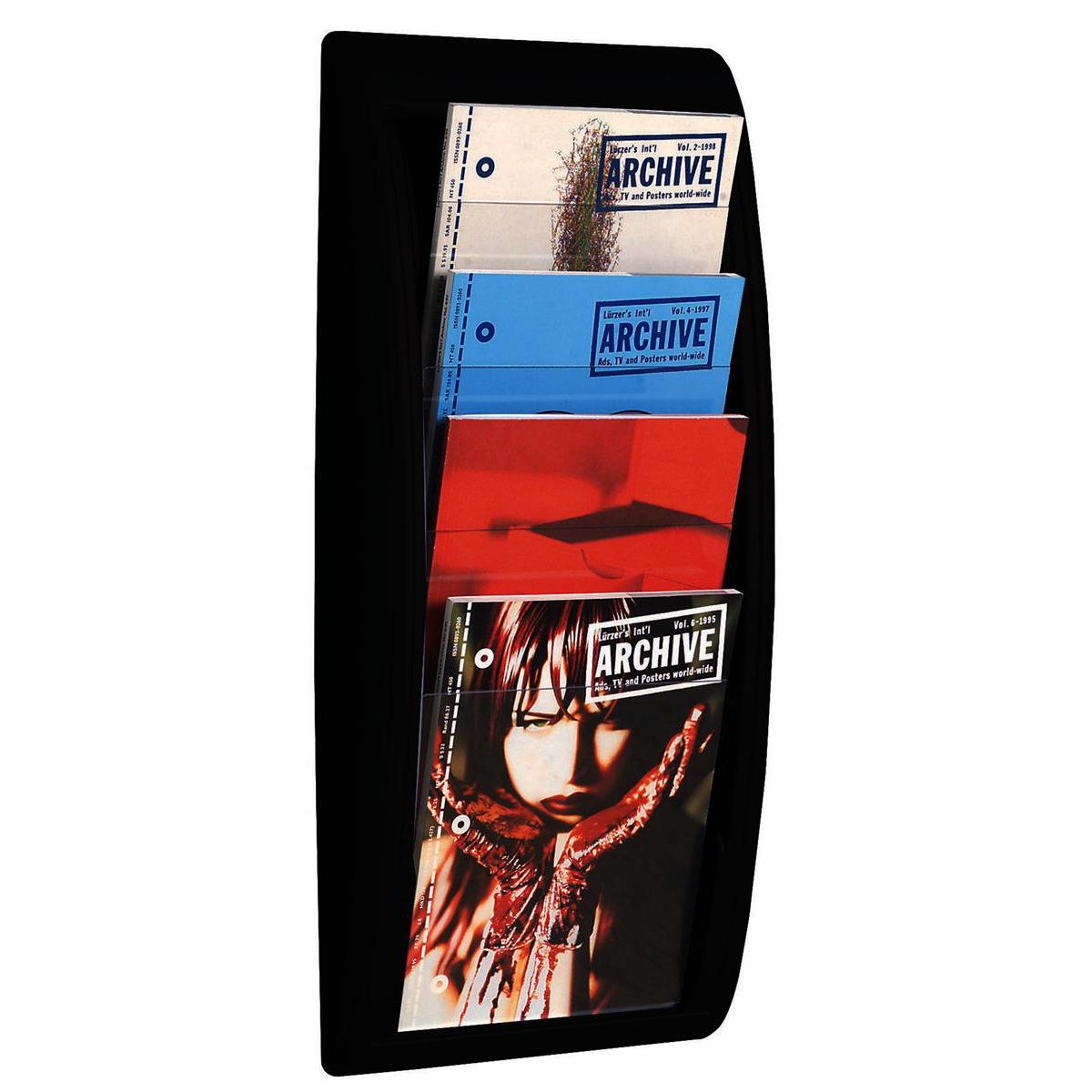 Fast Paper Literature Holder Wall Mount 4 x A4 Pockets Portrait Black Ref 4061.01