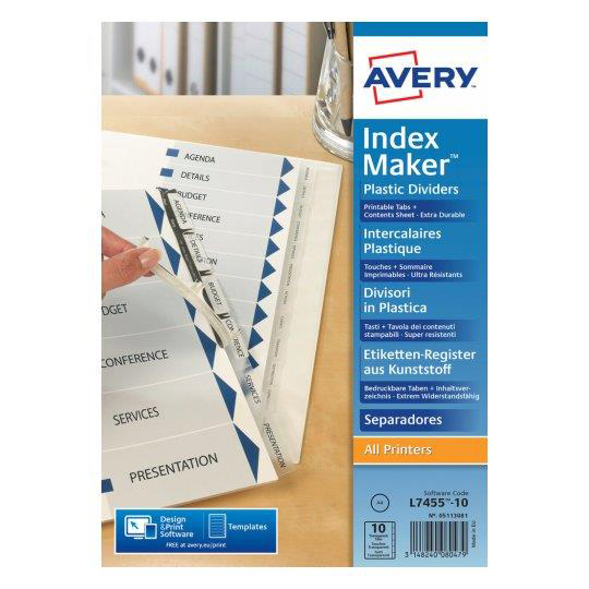 Avery IndexMaker Divider Set Polypropylene A4 10-Part Clear Ref 05113081 L7455-10