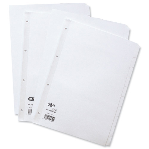 Elba Subject Dividers 12-Part Card Multipunched 160gsm A4 White Ref 400007502