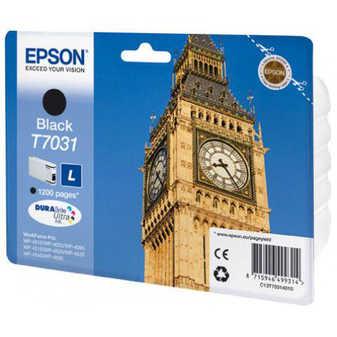 Epson T7031 Inkjet Cartridge Big Ben Page Life 1200pp 24ml Black Ref C13T70314010