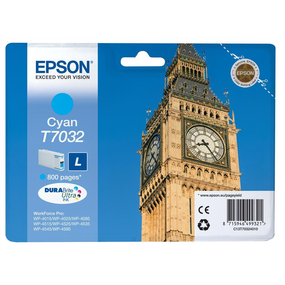 Epson T7032 Inkjet Cartridge Big Ben Page Life 800pp 9.6ml Cyan Ref C13T70324010