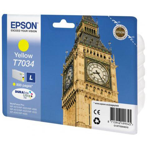 Epson T7034 Inkjet Cartridge Big Ben Page Life 800pp 9.6ml Yellow Ref C13T70344010