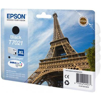 Epson T7021 Inkjet Cartridge Eiffel Tower XL Page Life 2400pp 45.2ml Black Ref C13T70214010