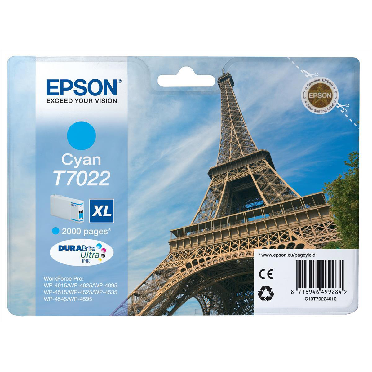 Inkjet Cartridges Epson T7022 Inkjet Cartridge Eiffel Tower XL Page Life 2000pp 21.3ml Cyan Ref C13T70224010