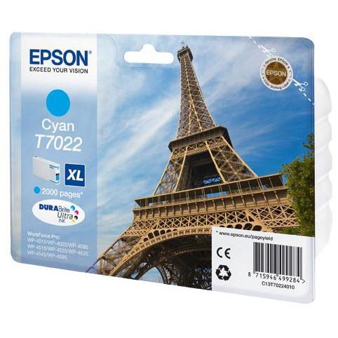 Epson T7022 Inkjet Cartridge Eiffel Tower XL Page Life 2000pp 21.3ml Cyan Ref C13T70224010