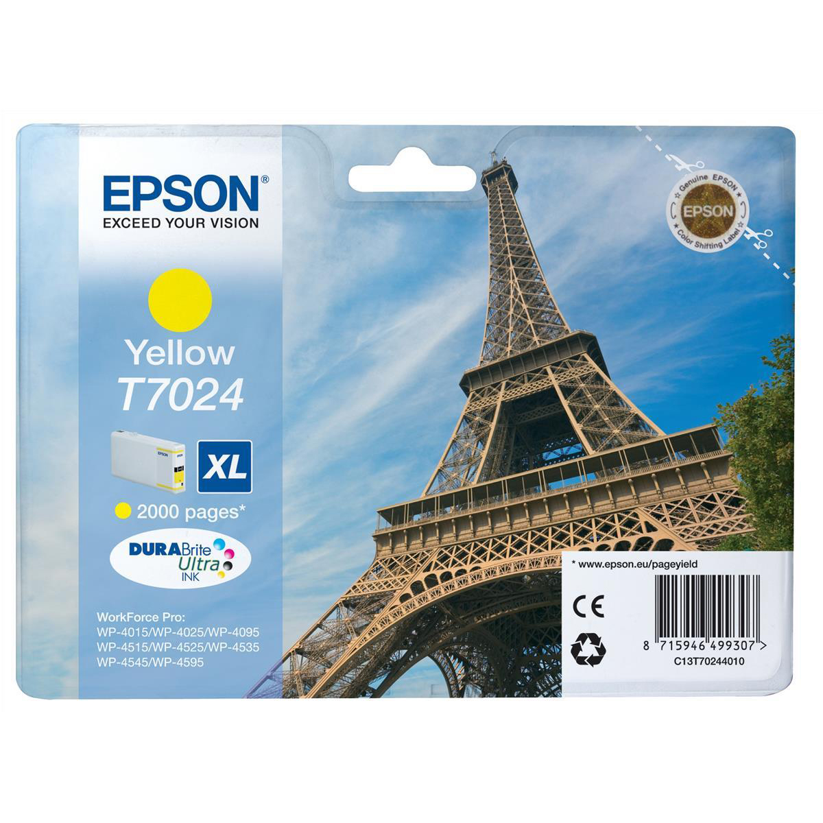 Epson T7024 Inkjet Cartridge Eiffel Tower XL Page Life 2000pp 21.3ml Yellow Ref C13T70244010