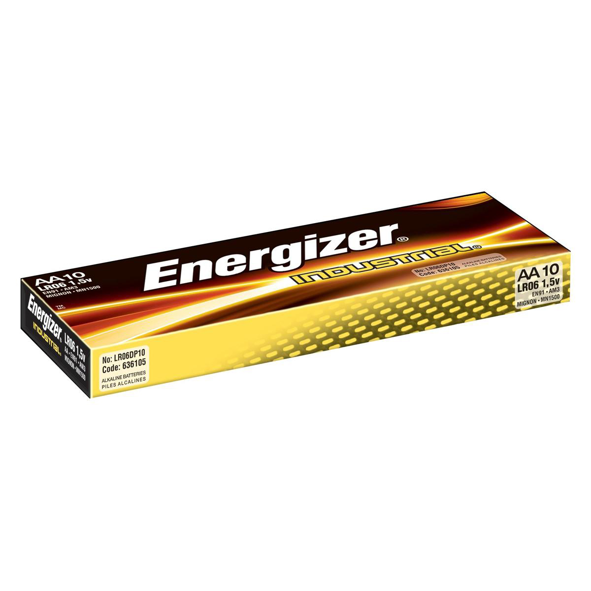 AA Energizer Industrial Battery Long Life LR6 1.5V AA Ref 636105 Pack 10
