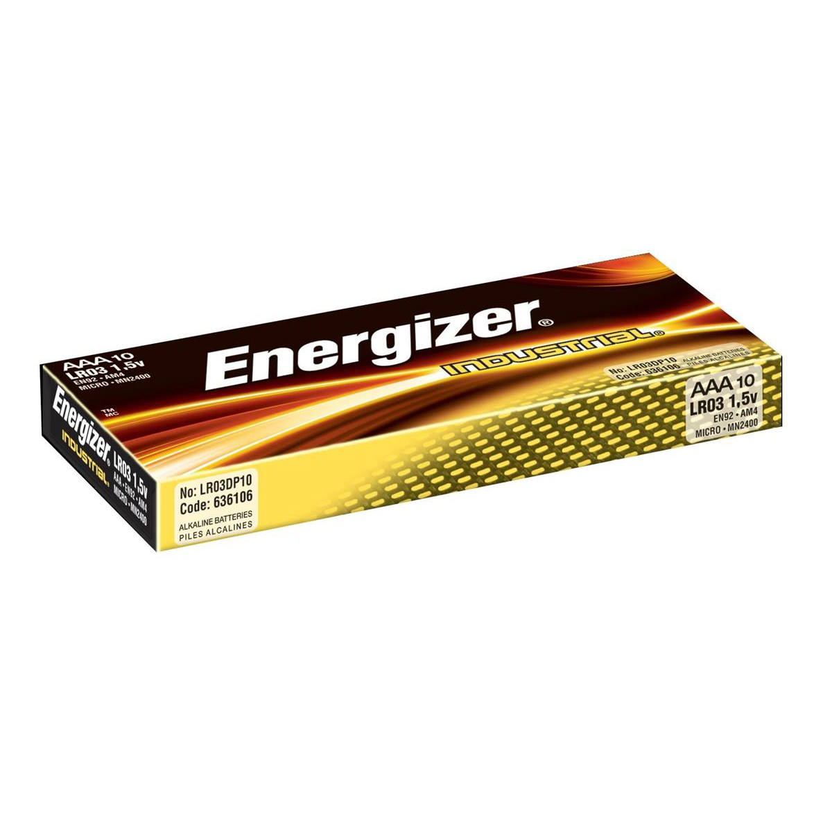 AAA Energizer Industrial Battery Long Life LR03 1.5V AAA Ref 636106 Pack 10