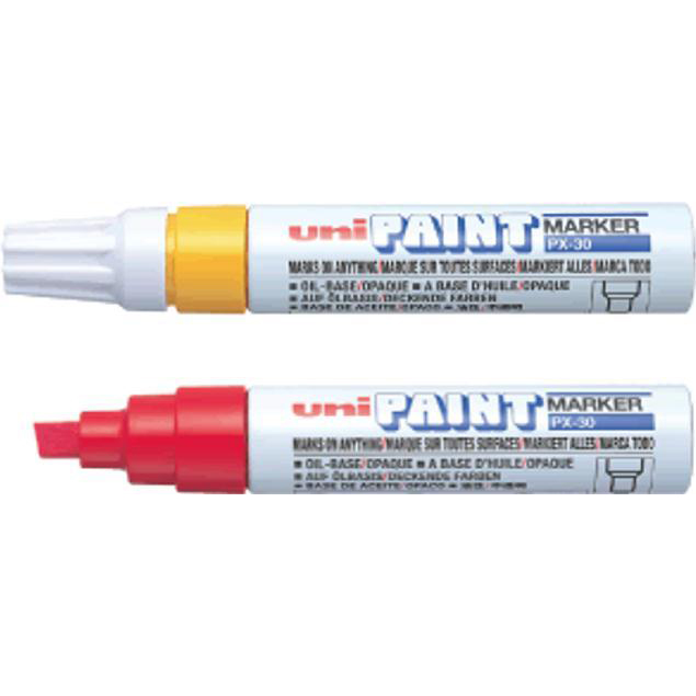 Uni Paint Marker Chisel Tip Broad Point PX30 Line Width 8.0mm White Ref 151183000 [Pack 6]