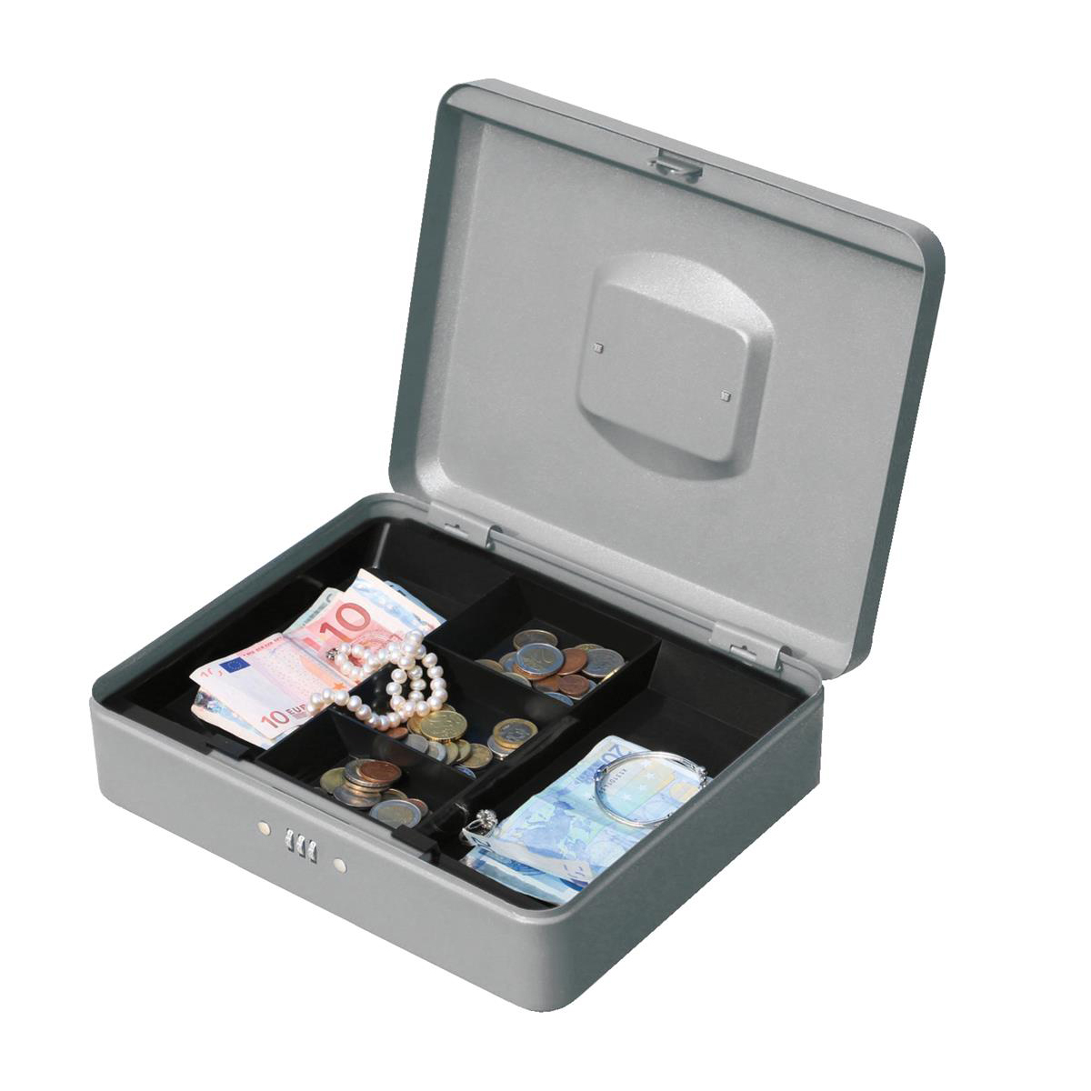Cash or ticket boxes 5 Star Facilities Premium Cash Box with Coin Tray Metal Combination Lock W300xD240xH90mm Grey