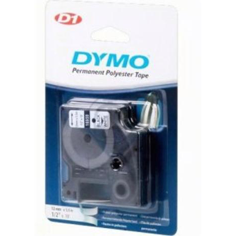 Dymo D1 Tape for Labelmaker Polyester Permanent 12x5.5mm Black on White Ref 16959 S0718060