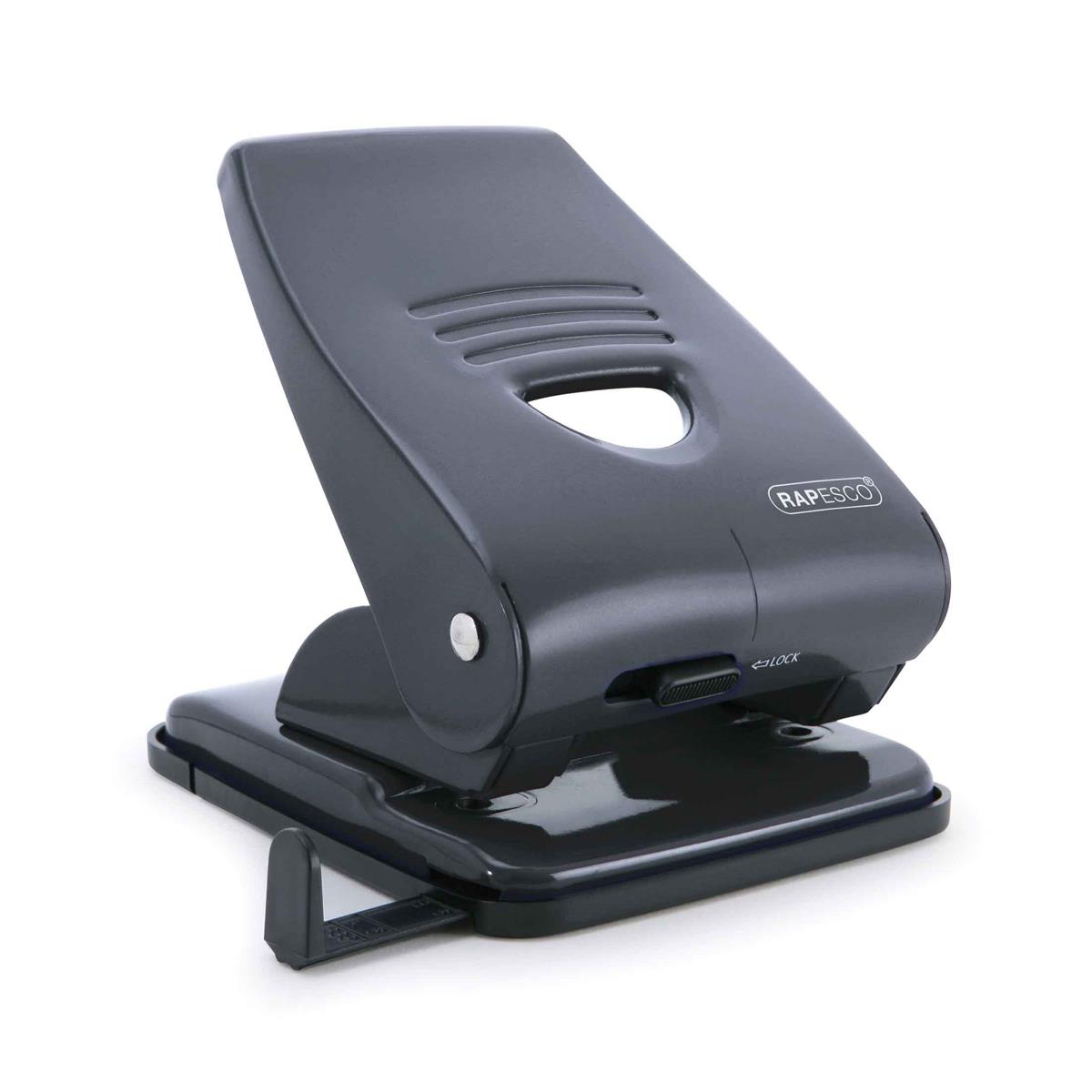 Hole Punches Rapesco 835M Punch 2-Hole Metal Heavy-duty with Lock-down Handle Capacity 40x 80gsm Black Ref PF800AB1