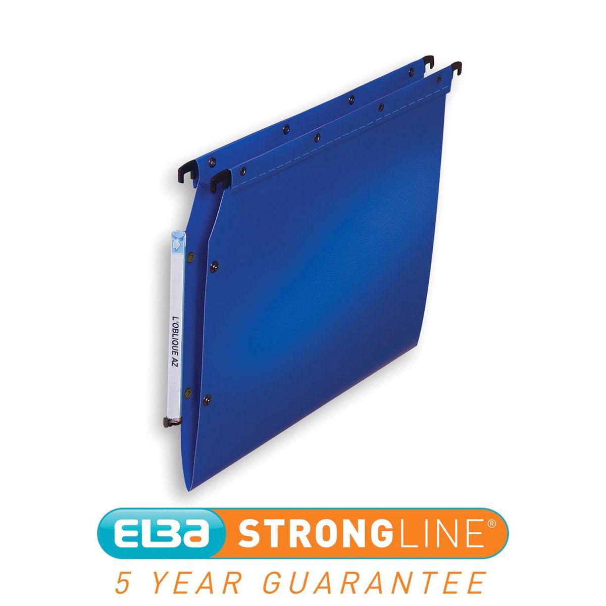 Elba Ultimate Polypro Linking Lateral File Polypropylene 15mm V-base A4 Blue Ref 100330583 Pack 25