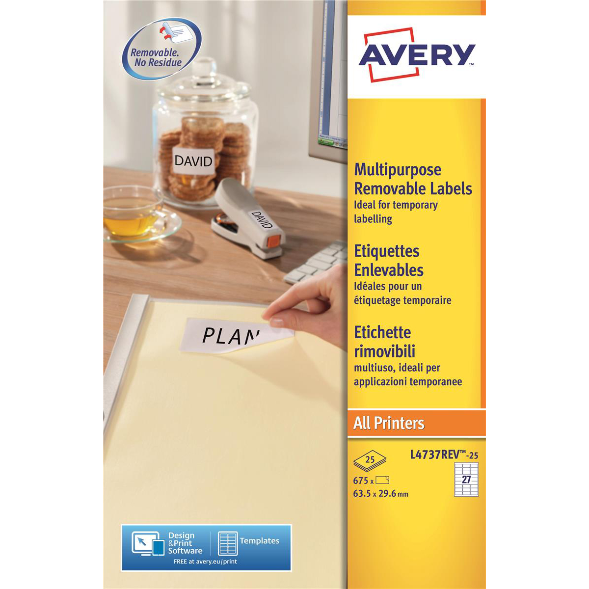 Avery Mini Multipurpose Labels Removable Laser 27 per Sheet 63.5x29.6mm White RefL4737REV-25 [675 Labels]